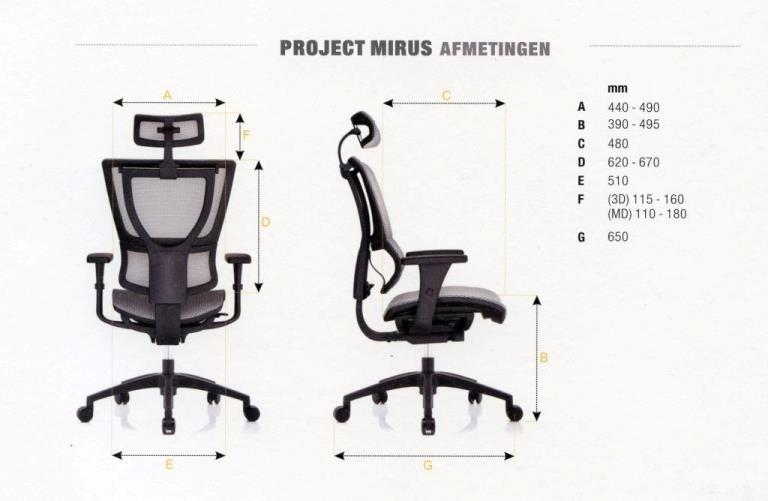 Project Mirus Afmetingen