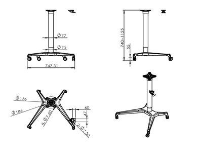Single Leg Desk afmetingen