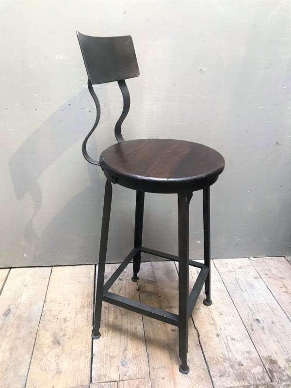 Bar stool with backrest in gray