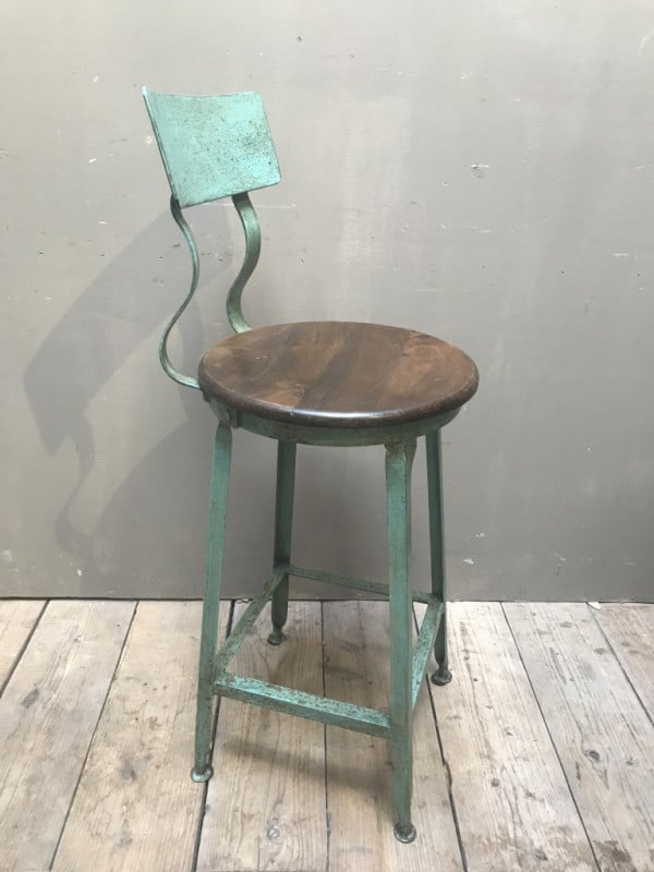 Bar stool with backrest in vintage green