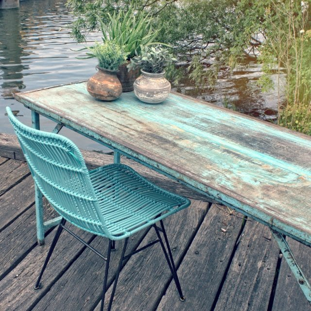 Blue-turquoise old folding table