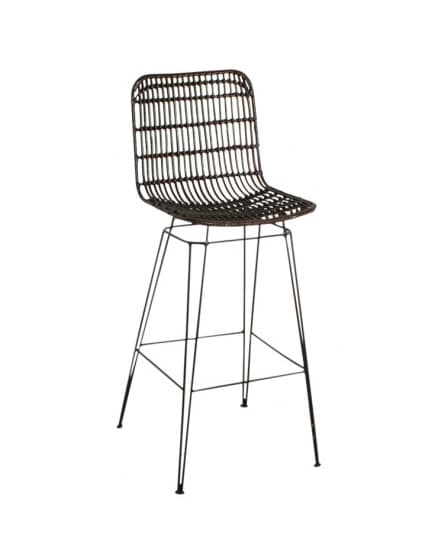 Brown rattan bar stool