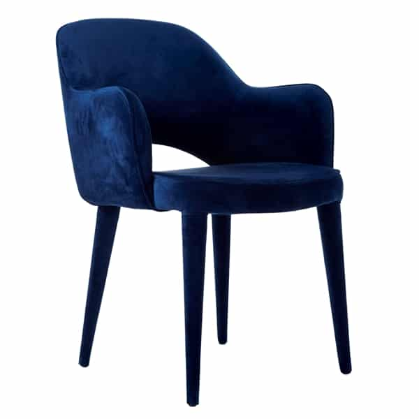 Dining room chair velor dark blue