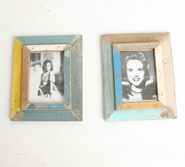 Recycled Wood Photo Frame Vintage Made from Collected Wood from Indonesia in Various Colors Available