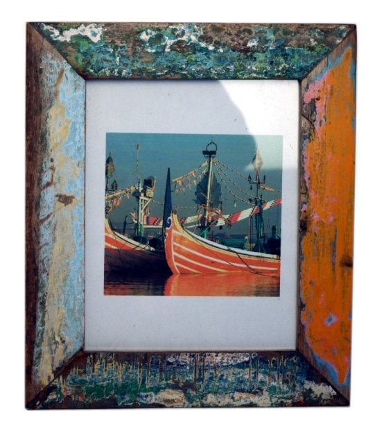 Recycled fishing boats wood photo frame from indonesia in different colors
