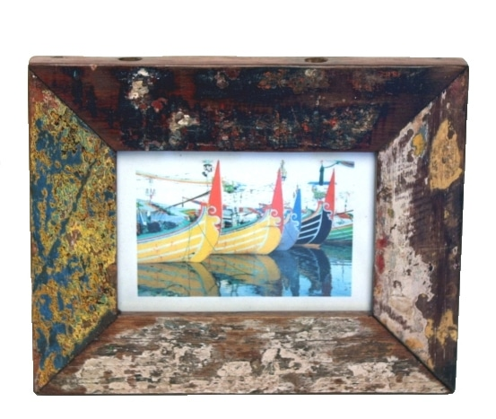 Recycled fishing boat wood photo frame in 3 different sizes