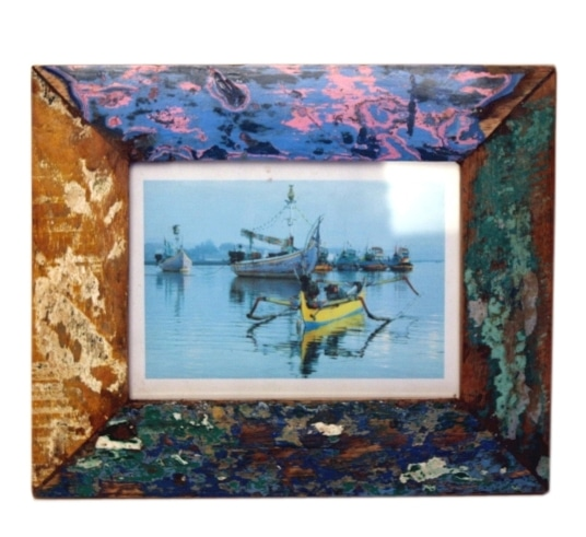 Recycled fishing boat wood photo frame from indonesia in medium size