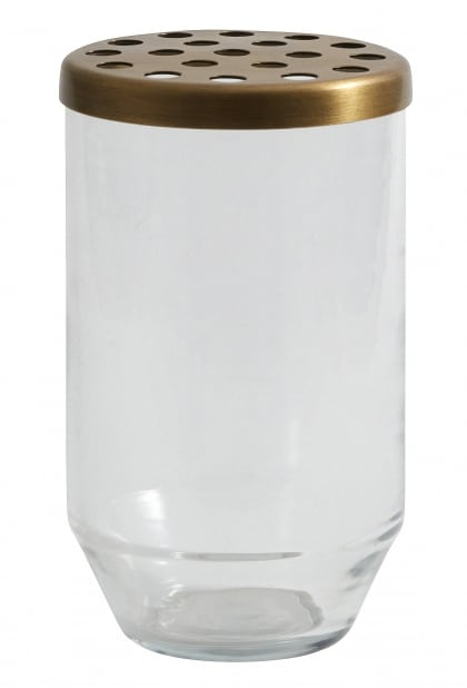 Glass vase with brass hole lid