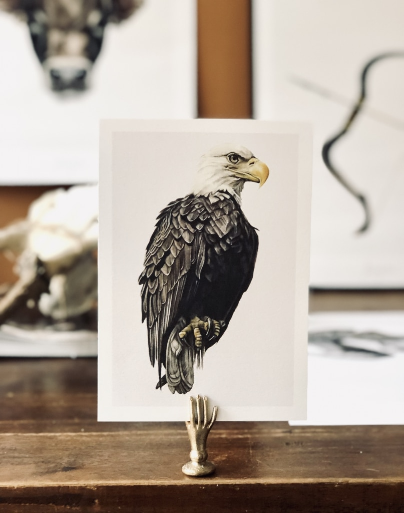 Hand painted eagle on art card