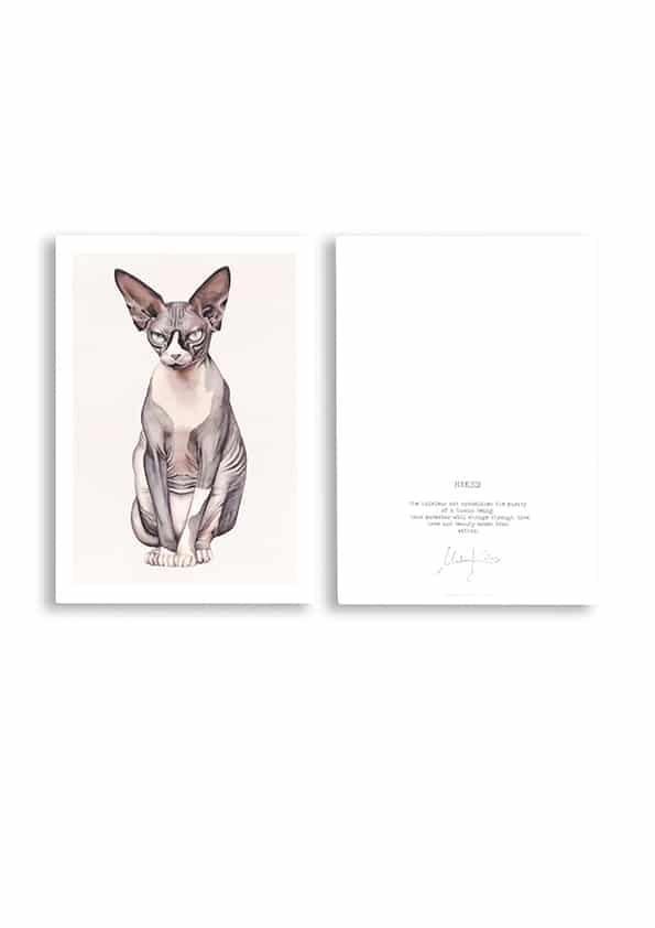 Hand-painted Nude Cat Top Card
