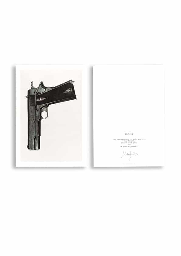 Hand painted gun printed on card