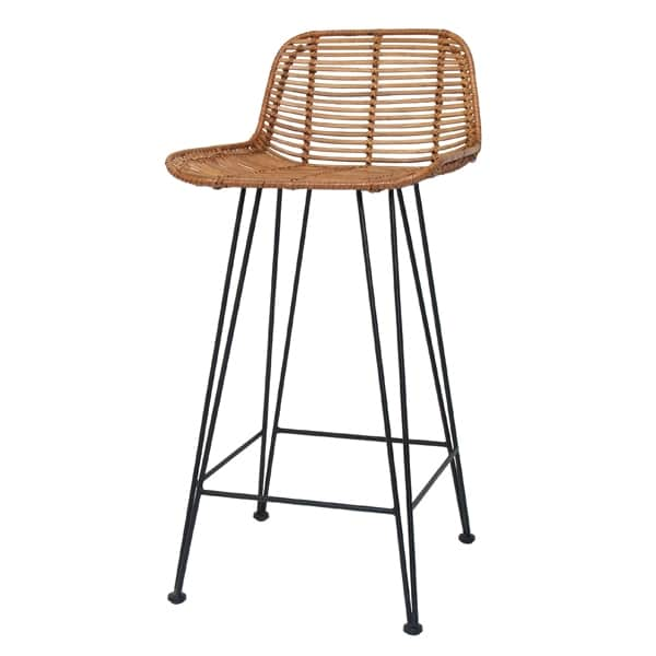 HKliving rattan barstool with backrests with metal legs in honey brown