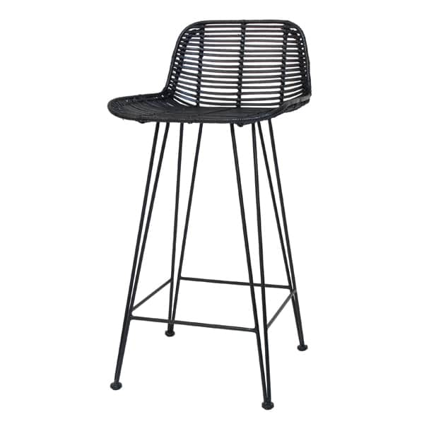 HKliving rattan barstool with backrests metal base in black