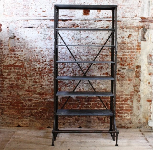 Iron rack with hard stone slabs