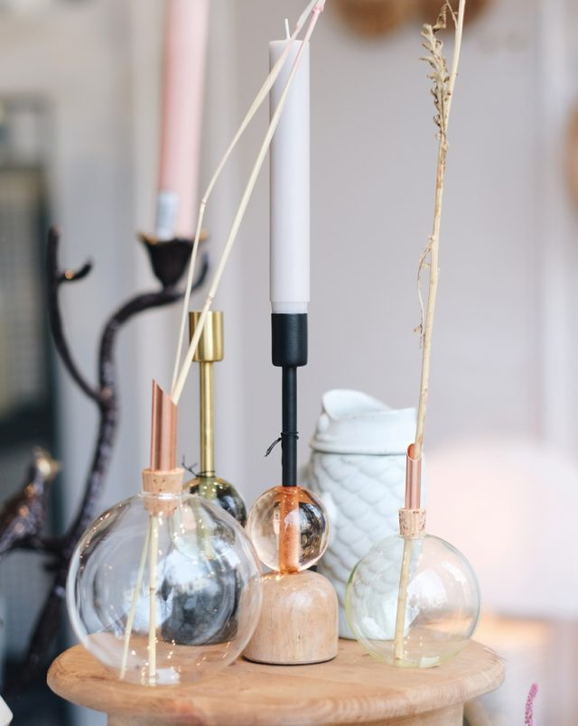 Candlestick marble metal peach