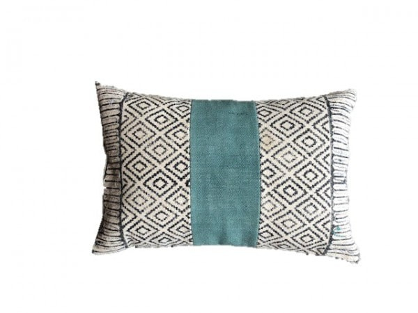 Cotton cushion black and white with blue piping