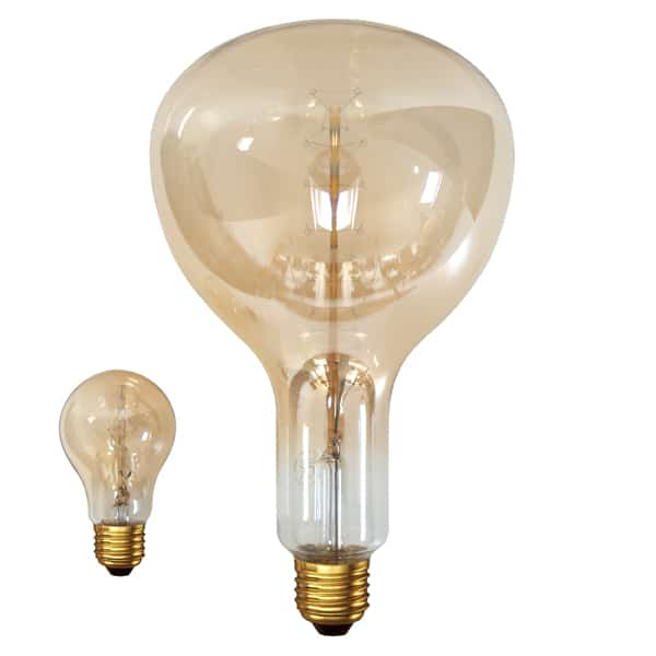 Mammoth incandescent lamp with gold effect in very large model with 40 fitting