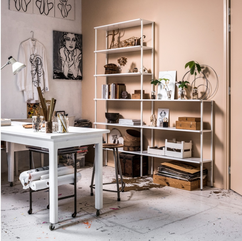 Metal shelving unit in high and low model