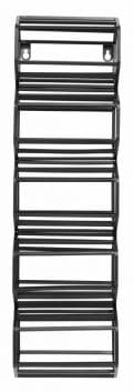 Metal wine rack with five storage compartments in black