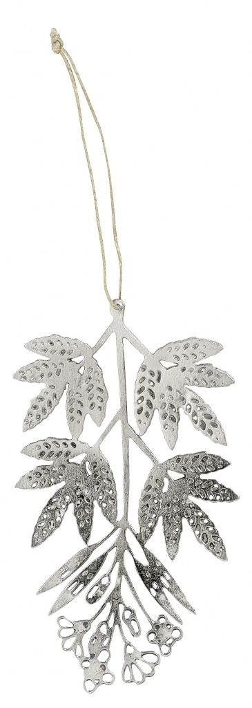 Nordalmetaldecorative pendantleavein the silveryuko hang on a branch