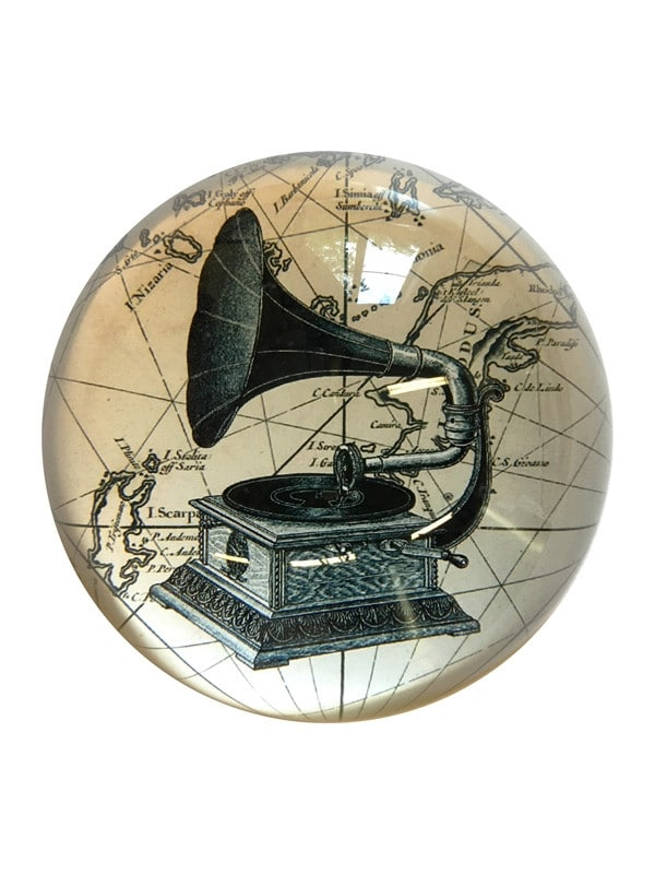 Paperweight gramophone black and white