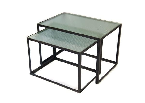 Coffee table set iron with glass bubble