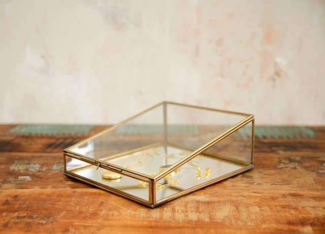 Jewelry box glass gold with mirror
