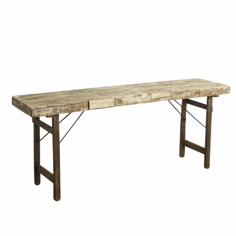 Small recycled wooden folding table white