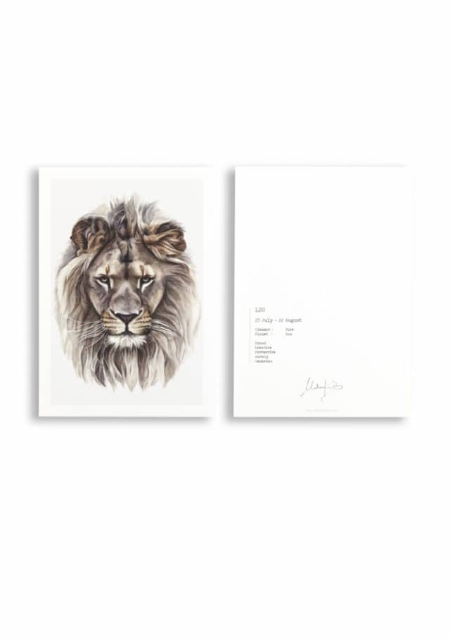Zodiac sign lion card