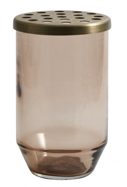 Vase brown glass with perforated lid
