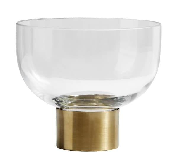 Vase of clear glass with brass ring