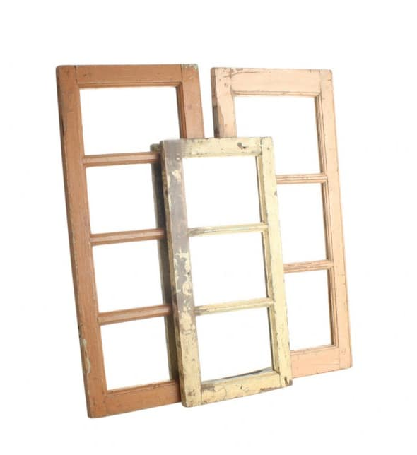 Four-piece wall mirror catcher recycled teak wood in various colors available