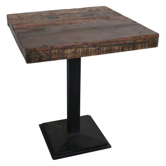 Square table with recycled top