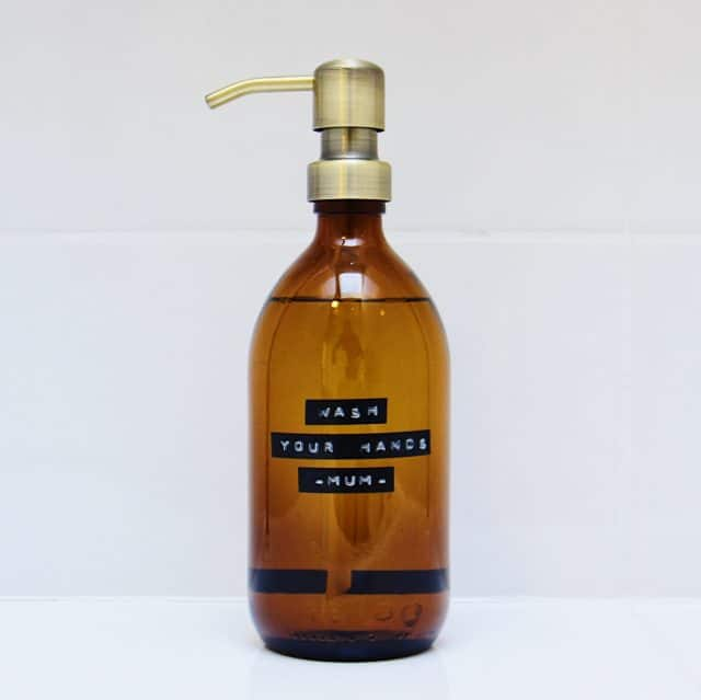 Soap pump brown glass wash your hands mum