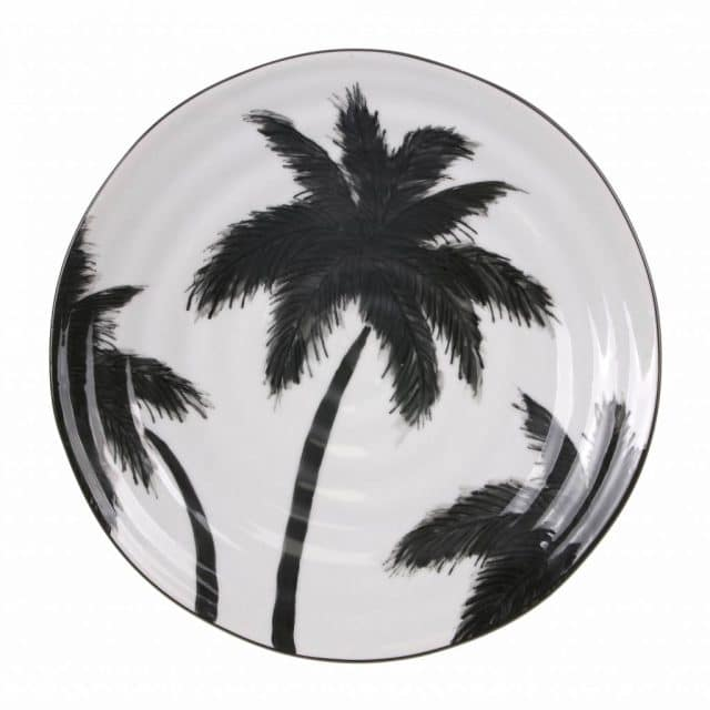 Hk Living Plate With Palms Ceramic Bold Basic 265x