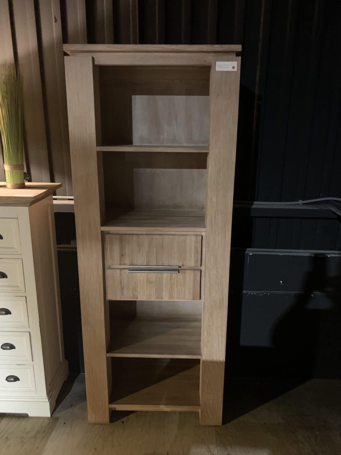 Showmodel Boekenkast Luuk Met 2 Laden En 4 Open Vakken Oud Teak