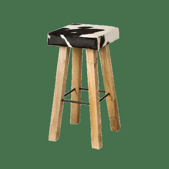 Barstoel Renew As 1280b Vierkant Zwart Wit Koeienhuid