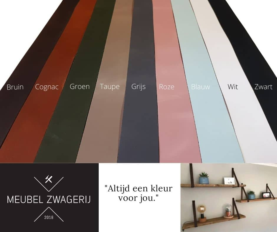 Wandplank Van Steigerhout Met Leren Riemen Of Stalen Beugels