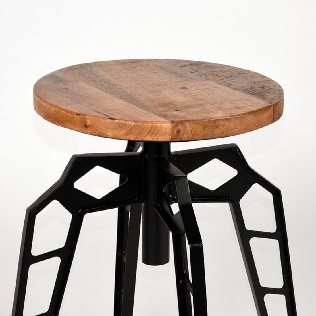 Kruk Pebble Zwart Metaal Rough Mangohout 35x35x52 Cm Detail 1