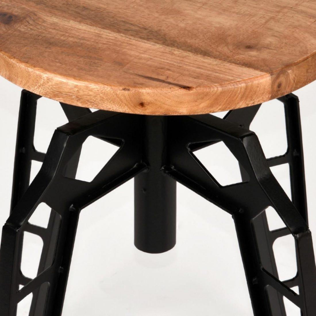 Kruk Pebble Zwart Metaal Rough Mangohout 35x35x52 Cm Detail 2
