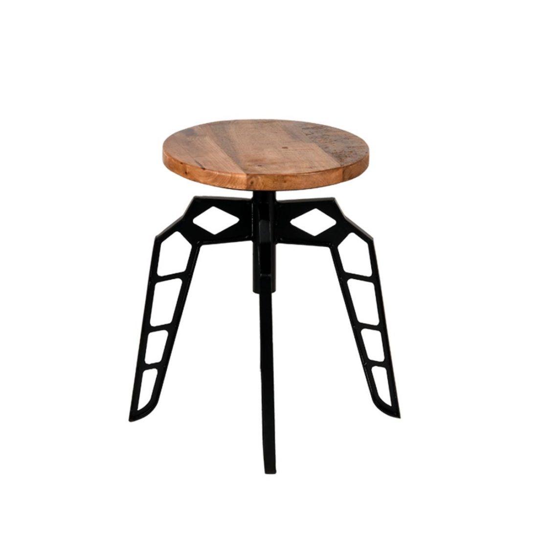 Kruk Pebble Zwart Metaal Rough Mangohout 35x35x52 Cm Vooraanzicht 2