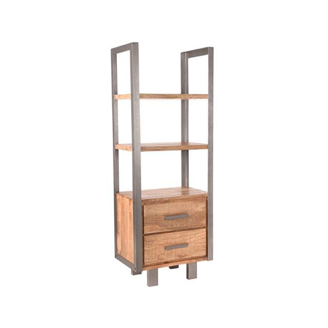 Boekenkast Factory Rough Mangohout Vintage Metaal 68x45x185 Cm Perspectief