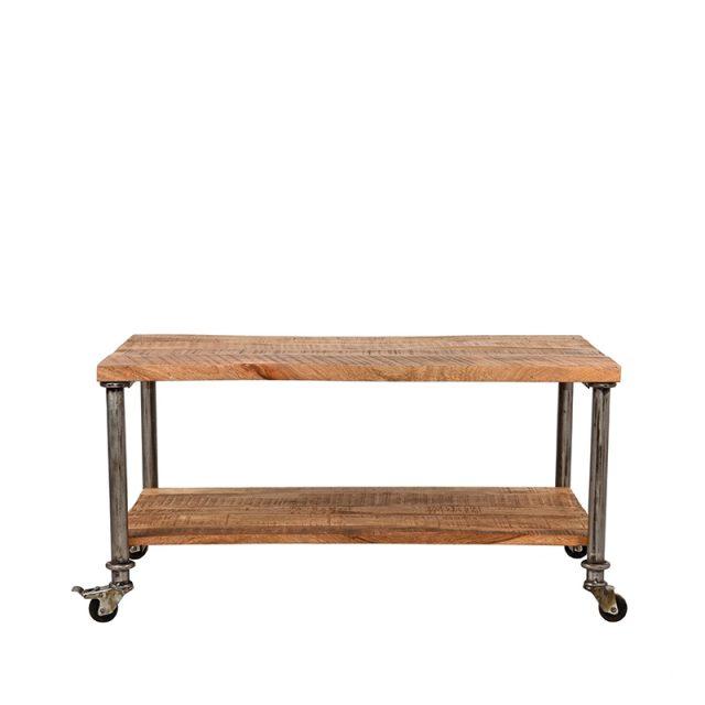 Coffee Table Flex Rough Mangohout Vintage Metaal 90x60x45 Cm Vooraanzicht 1