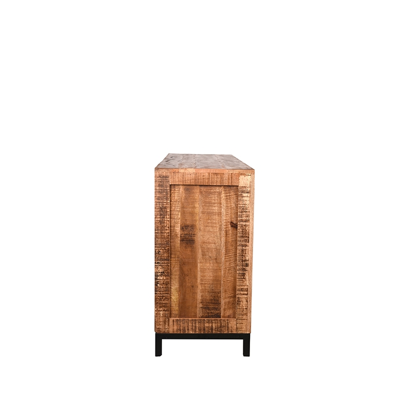Dressoir Ghent Rough Mangohout Zwart Metaal 190x45x87 Cm 3 Lades 2 Kasten Zijkant