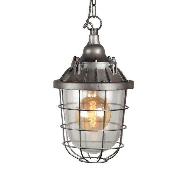 Hanglamp Seal Burned Steel Metaal Korf Transparant Glas 29x29x47 Cm Vooraanzicht