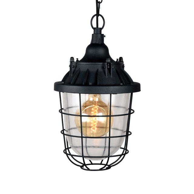 Hanglamp Seal Zwart Metaal Korf Transparant Glas 29x29x47 Cm Vooraanzicht 2