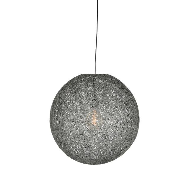 Hanglamp Twist Grijs Vlas 30x30x30 Cm Voorkant Aan 1
