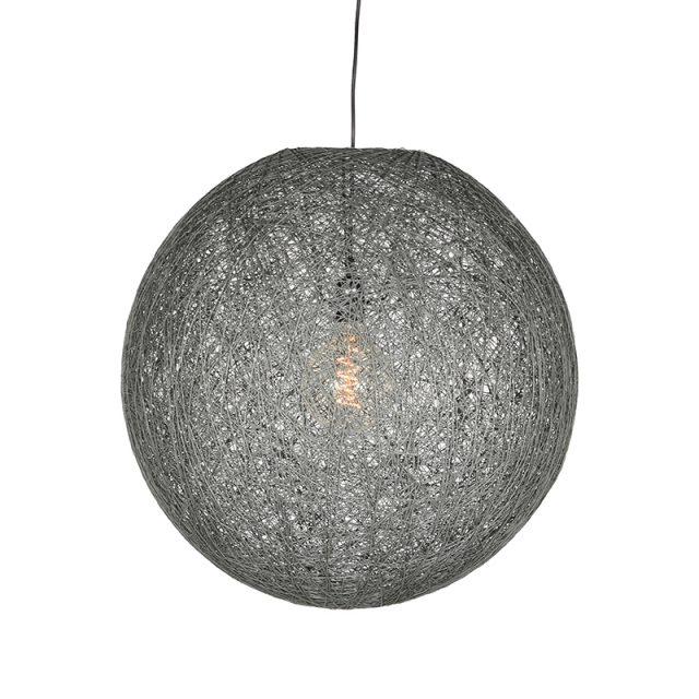 Hanglamp Twist Grijs Vlas 60x60x60 Cm Voorkant Aan 1