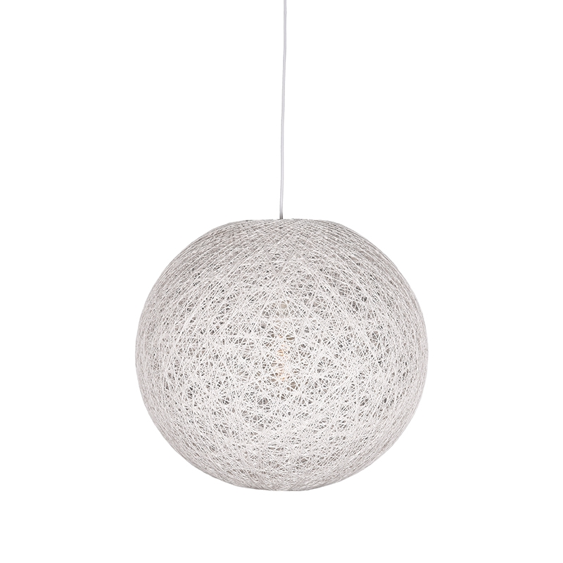 Hanglamp Twist Wit Vlas 30x30x30 Cm Voorkant Aan 1