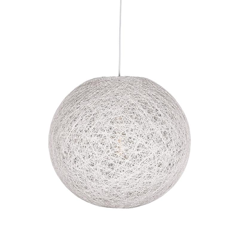 Hanglamp Twist Wit Vlas 45x45x45 Cm Voorkant Aan 1